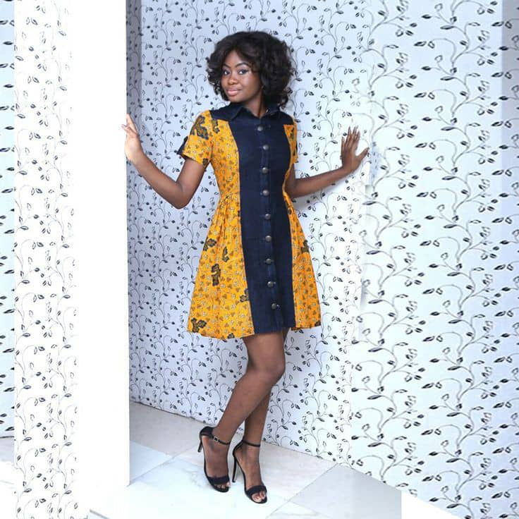 lady's dress combines ankara with jeans