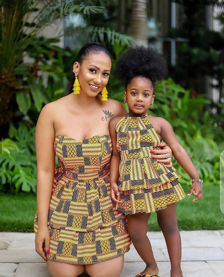 mother and daughter rocking different ankara styles with same print