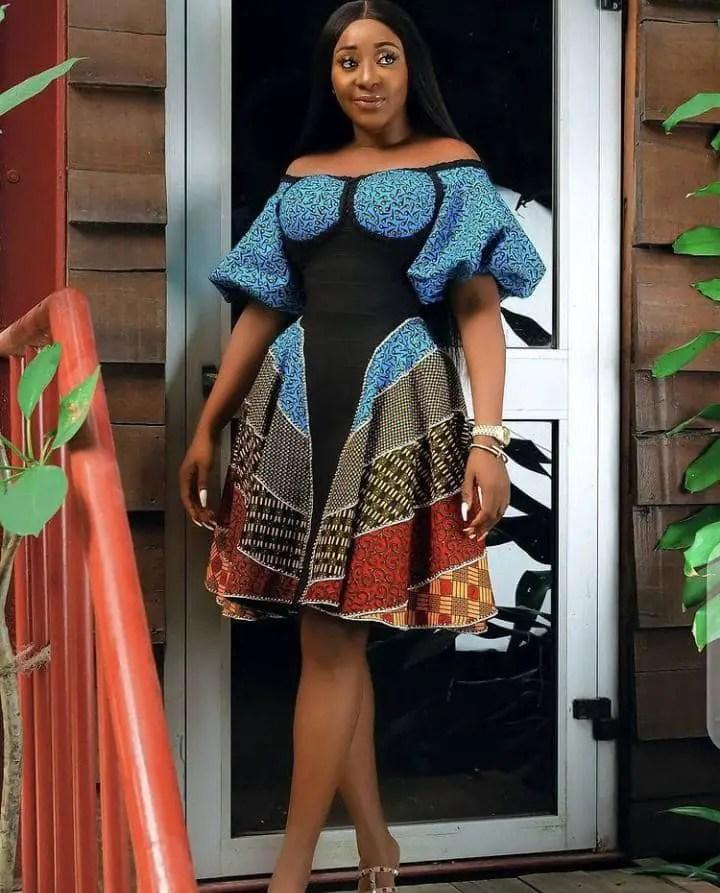 Ini Edo wearing beautiful ankara dress