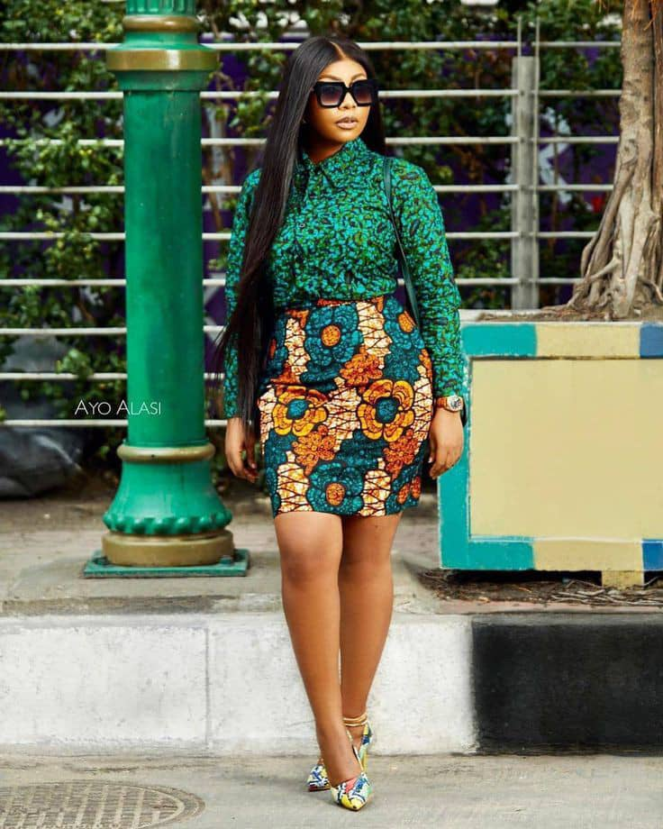 lady with dark shades rocking mixed fabric ankara outfit