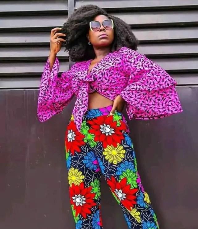 lady wearing different ankara prints