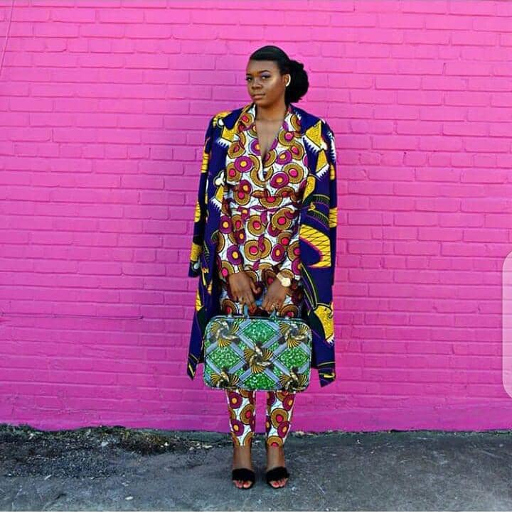 lady combining more than 2 ankara patterns in one outfit