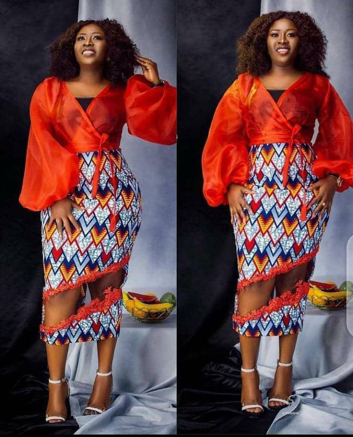 lady in ankara and organza dress