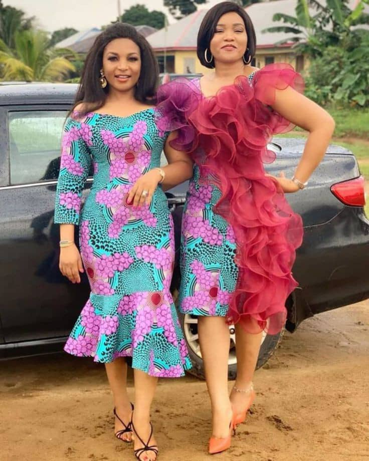 2 ladies in ankara and organza dresses