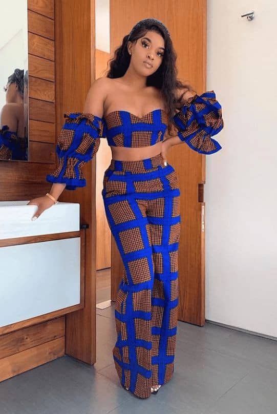 lady in off-shoulder ankara top with matching palazzo pants