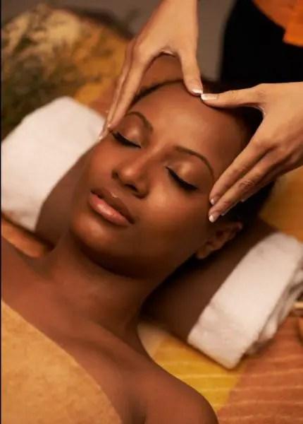 lady receiving scalp massage
