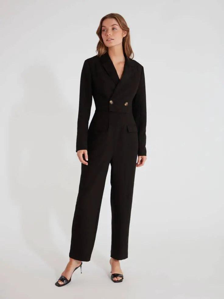 lady wearing black formal jumpsuit