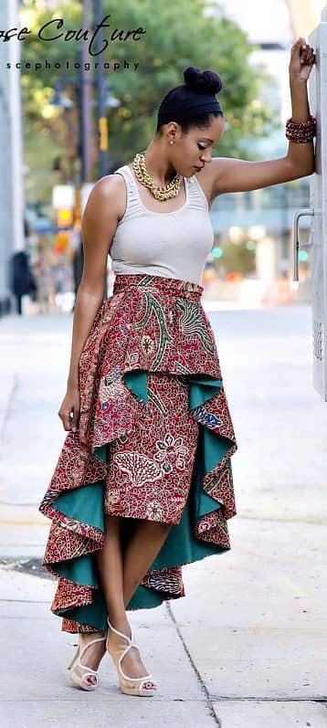 lady wearing high-low ankara skirt