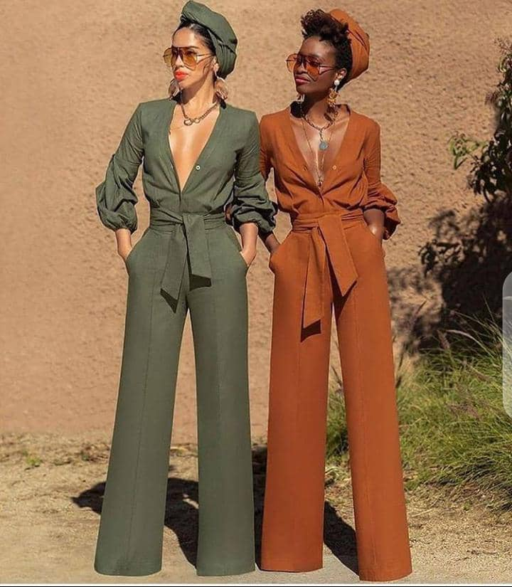 ladies w rocking different color jumpsuits