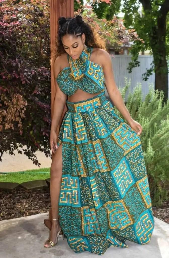 lady wearing ankara top with matching ankara maxi skirt