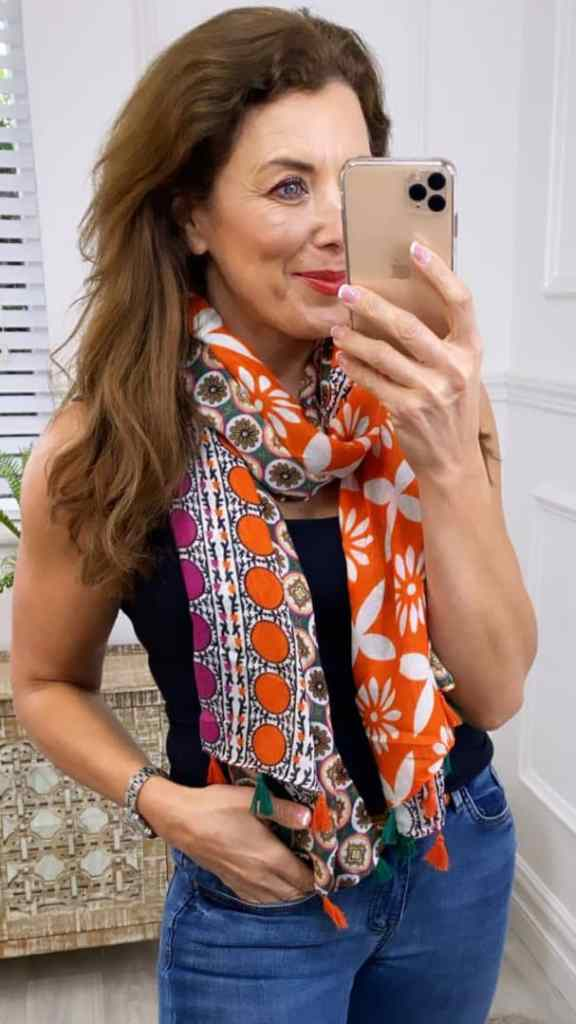 lady wearing colorful scarf