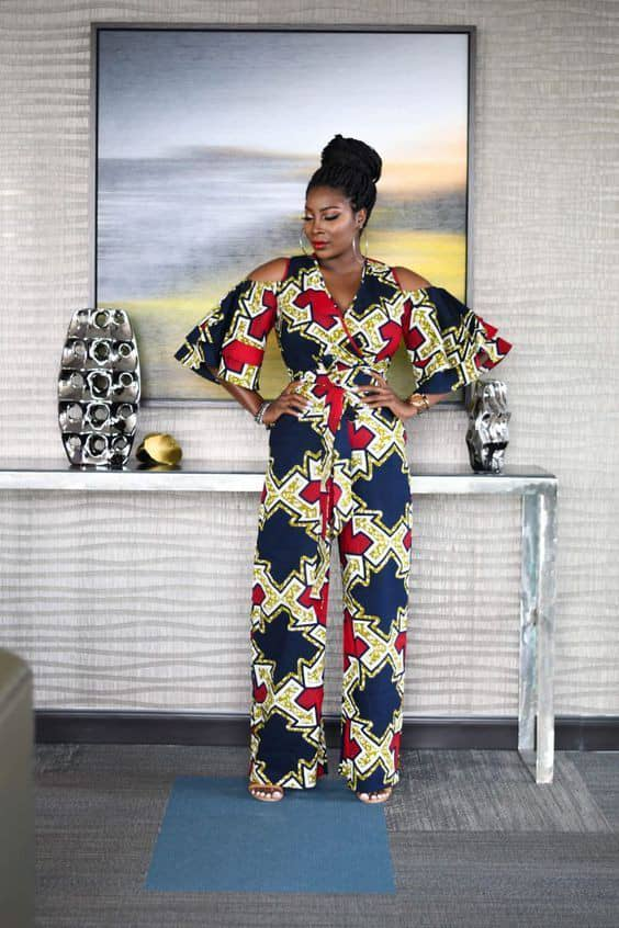 lady in ankara jumpsuit for an owambe party