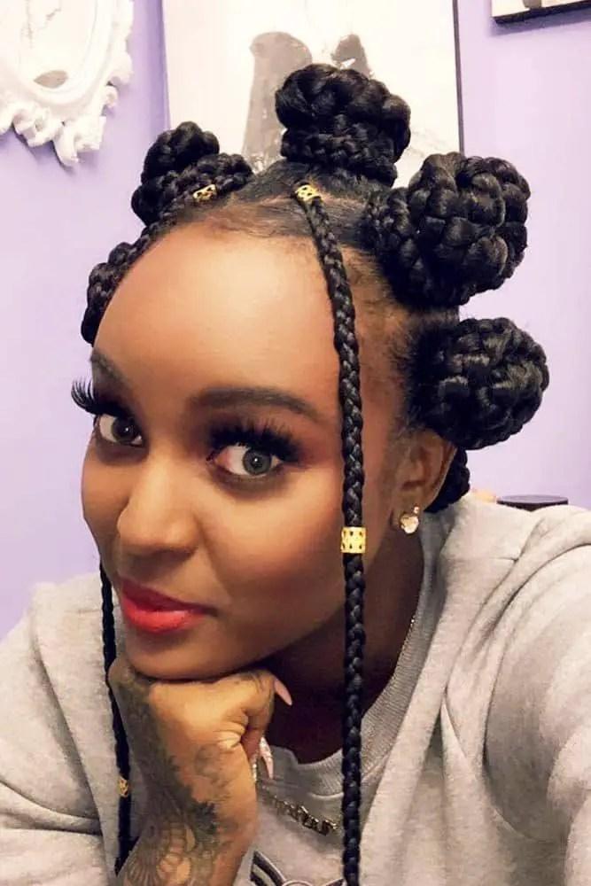 lady wearing braided Bantu knots