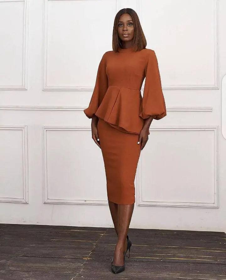 lady in a formal work dress