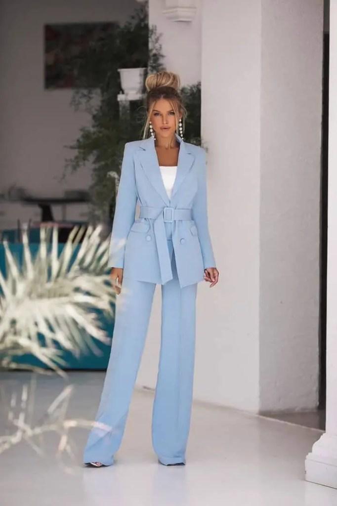 lady wearing light-blue blazer and pants