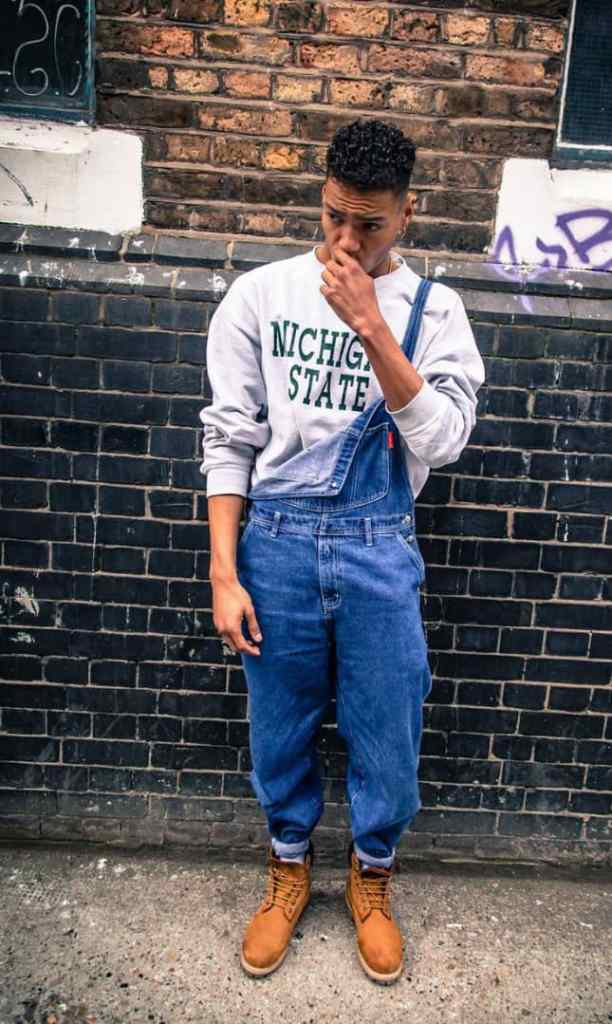 guy wearing dungaree in a one-strap style