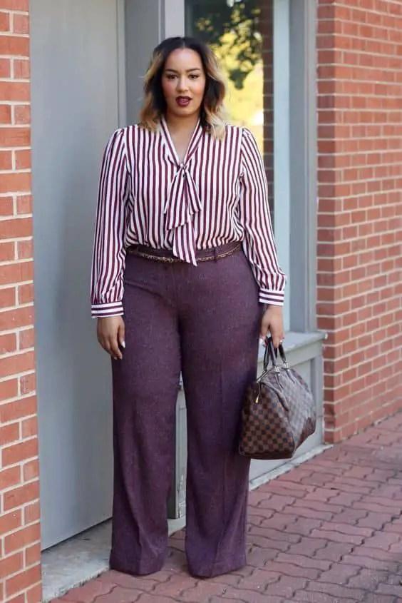 lady wearing stripped shirt and palazzo pants