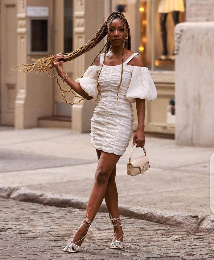ladyy wearing white dress