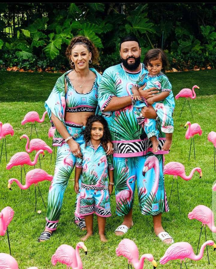 DJ Khaled and family wearing luxury fashion outfits