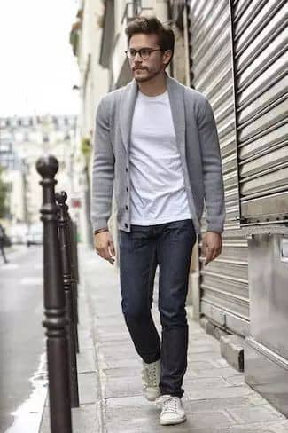 man layering with a sweater
