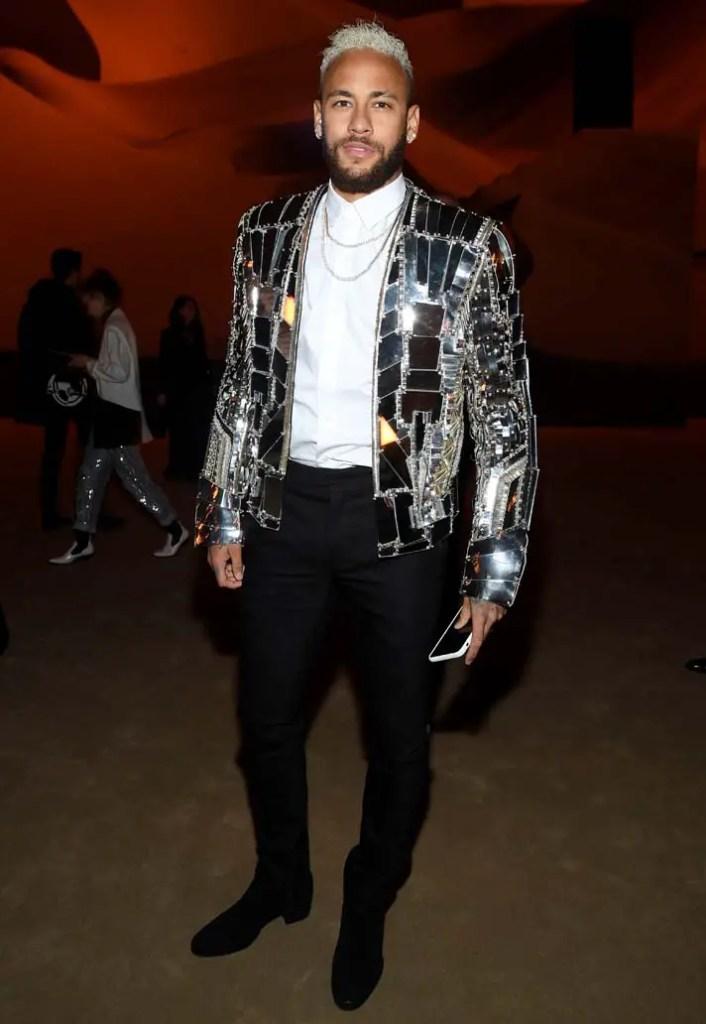 Neymar rocking shiny suit