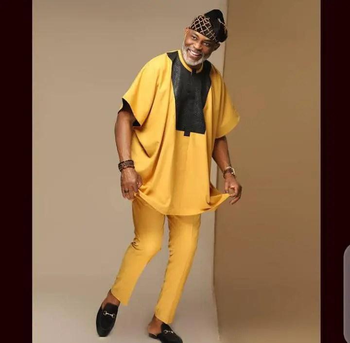 Richard Mofe-Damijo wearing yellow agbada with cap