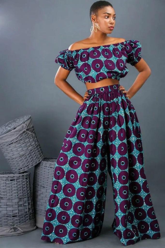lady wearing ankara top with matching palazzo