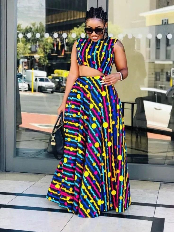 lady wearing ankara top with matching maxi skirt