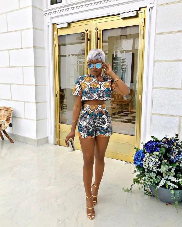lady in ankara top and shorts