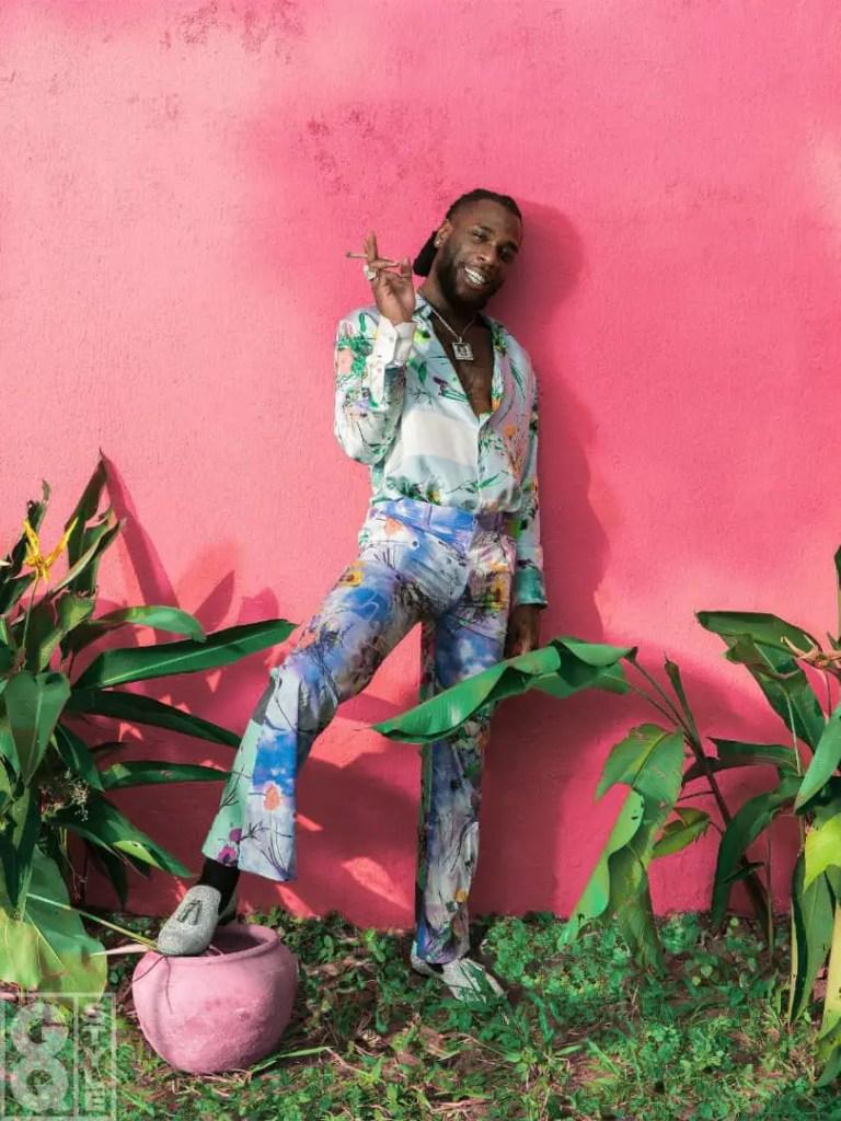 Burna Boy rocking flowery print