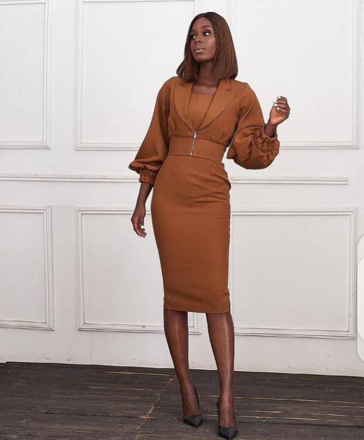 lady wearing brown dress with heels