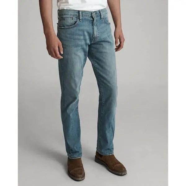 man wearing straight cut jeans