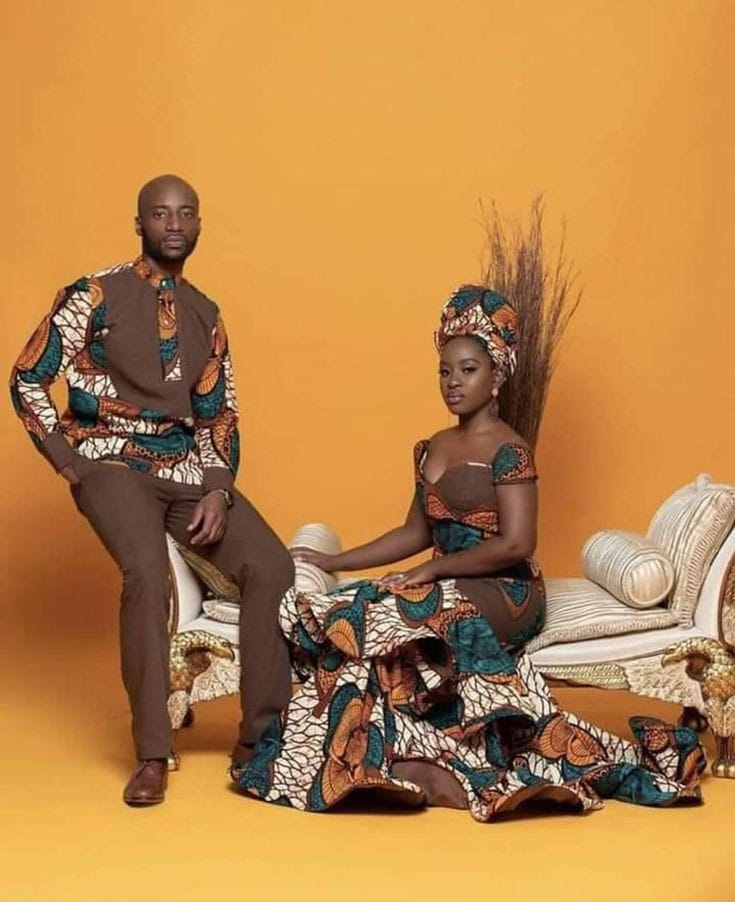 couple wearing matching African native outfits