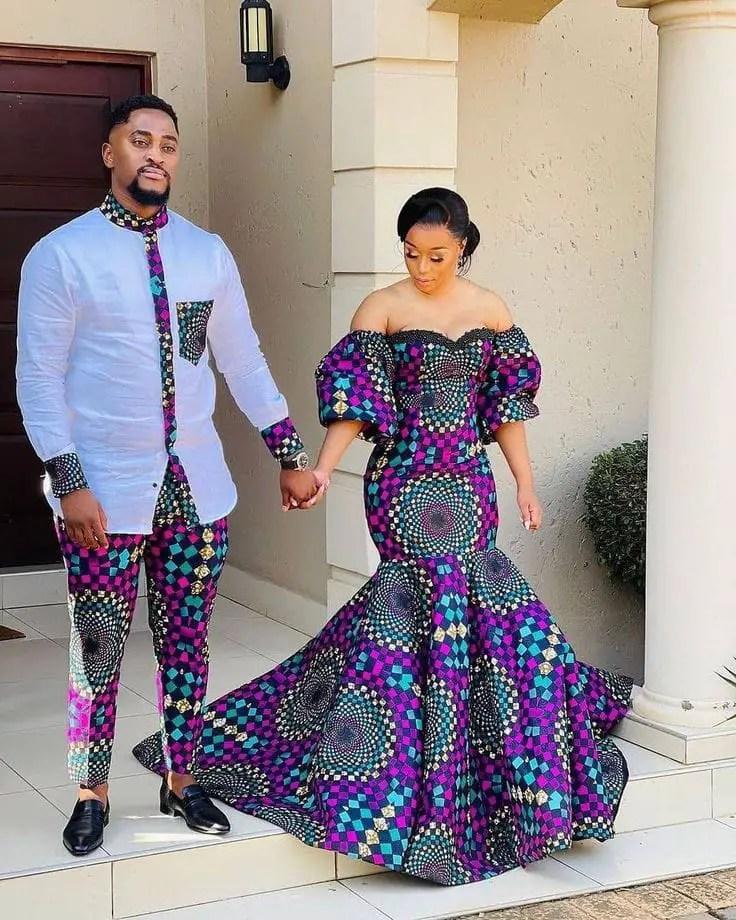 couple wearing matching ankara outfits
