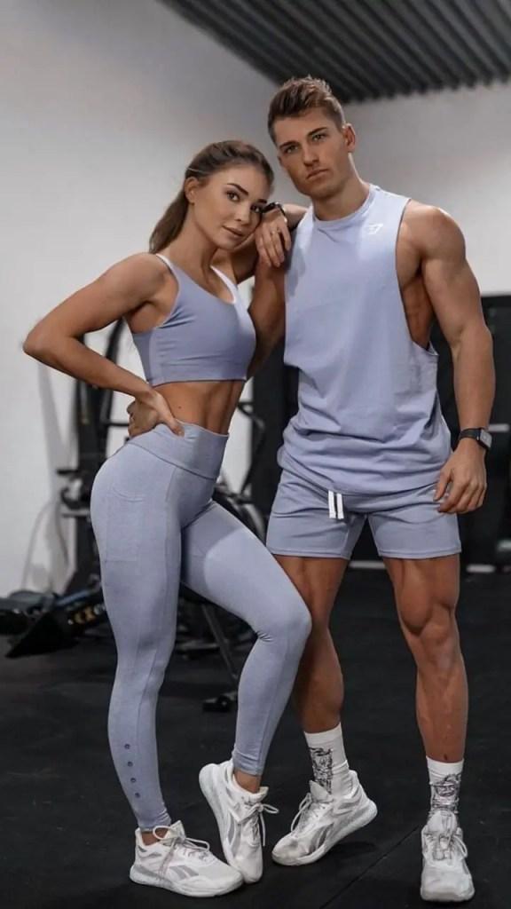 couple wearing matching gym wear
