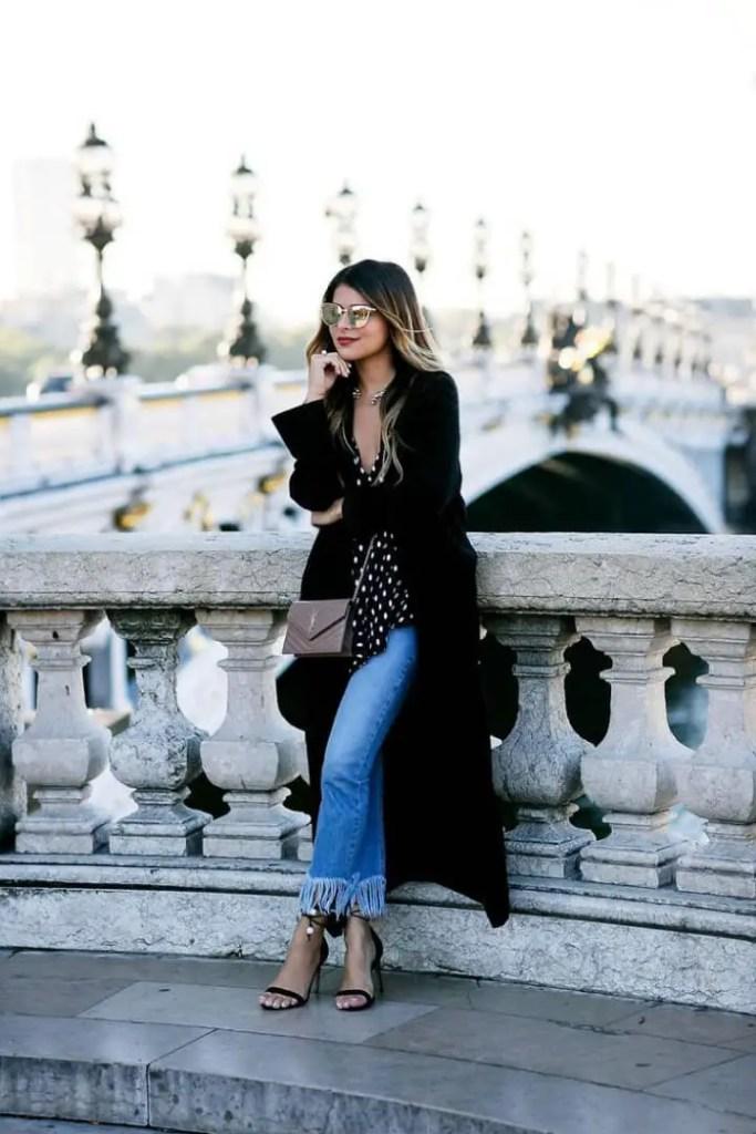 lady wearing black overcoat
