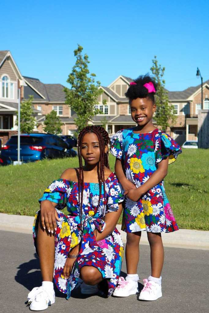 mother and daughter rocking matching ankara gown and sneakers