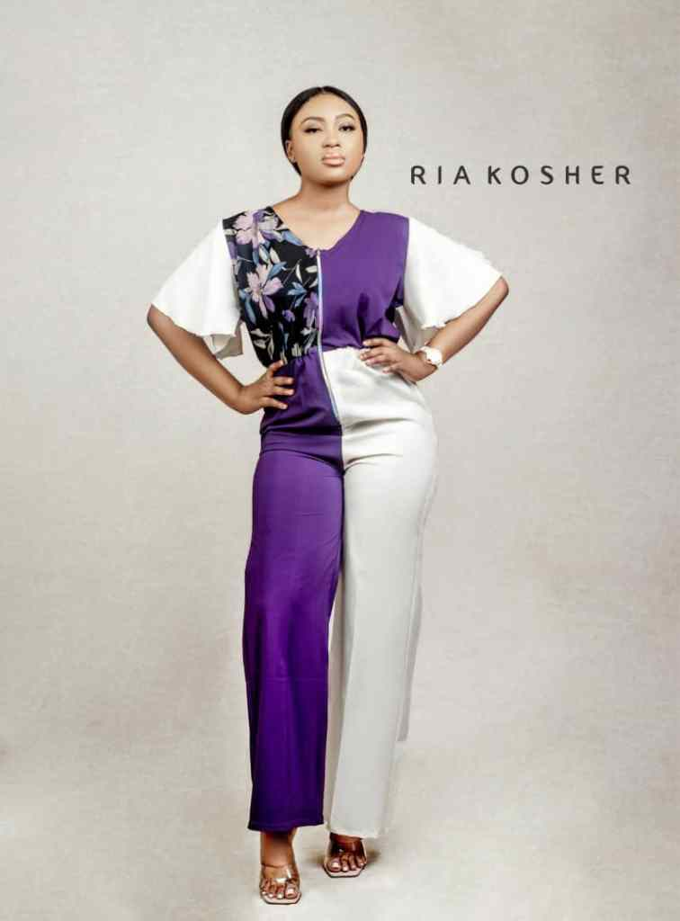 lady wearing ready-made jumpsuit by Ria Kosher