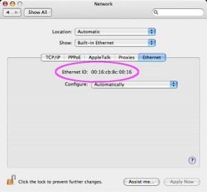 Mac OS X: Ethernet ID