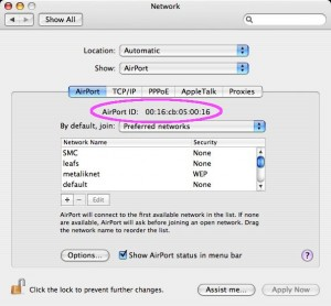 Mac OS X: AirPort Ethernet ID