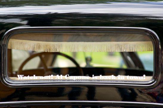 Oltimer Heckfenster mit Bordüre