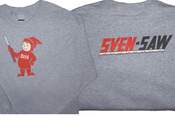 Front and Back of the Long-Sleeve Gray Sven-Saw shirt