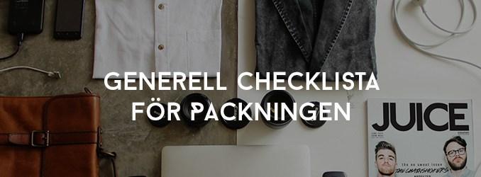 Generell Checklista för Packningen