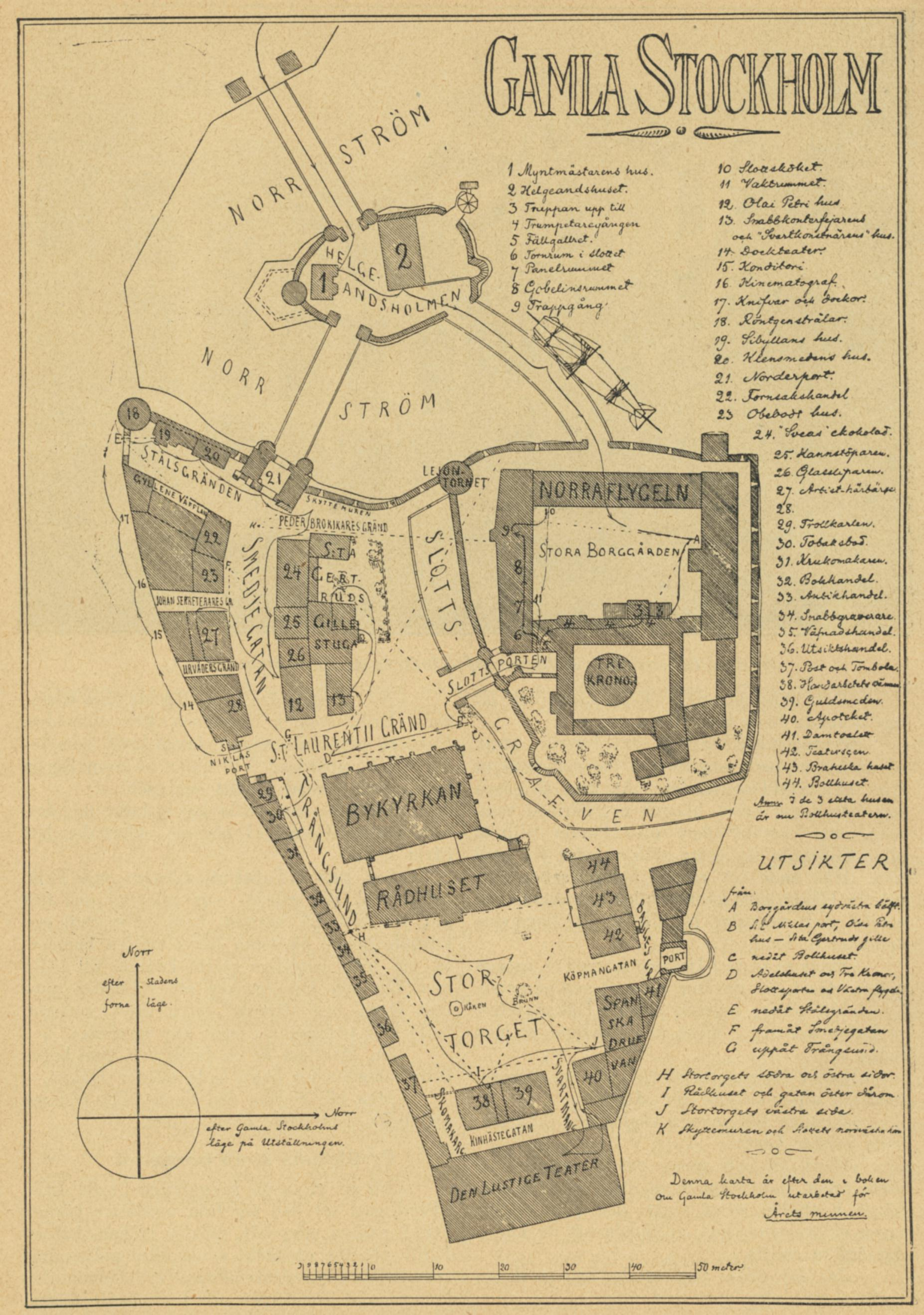 Karta över Gamla Stockholm på Allmänna konst- och industriutställningen 1897