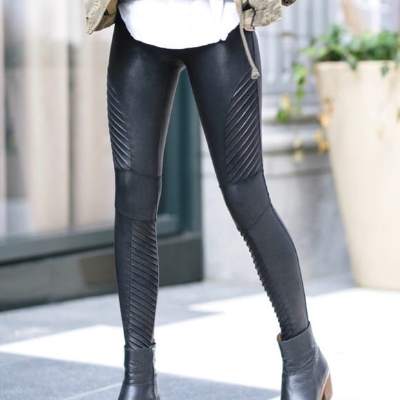 Spanx Faux Leatherlook Shaping Moto-legging Black