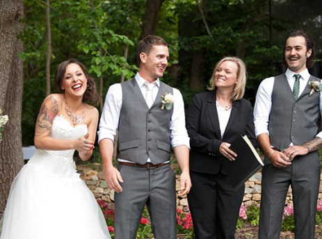 Laughter at the wedding ceremony