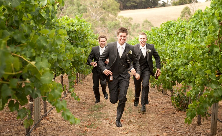 Boys running at Nepenthe winery