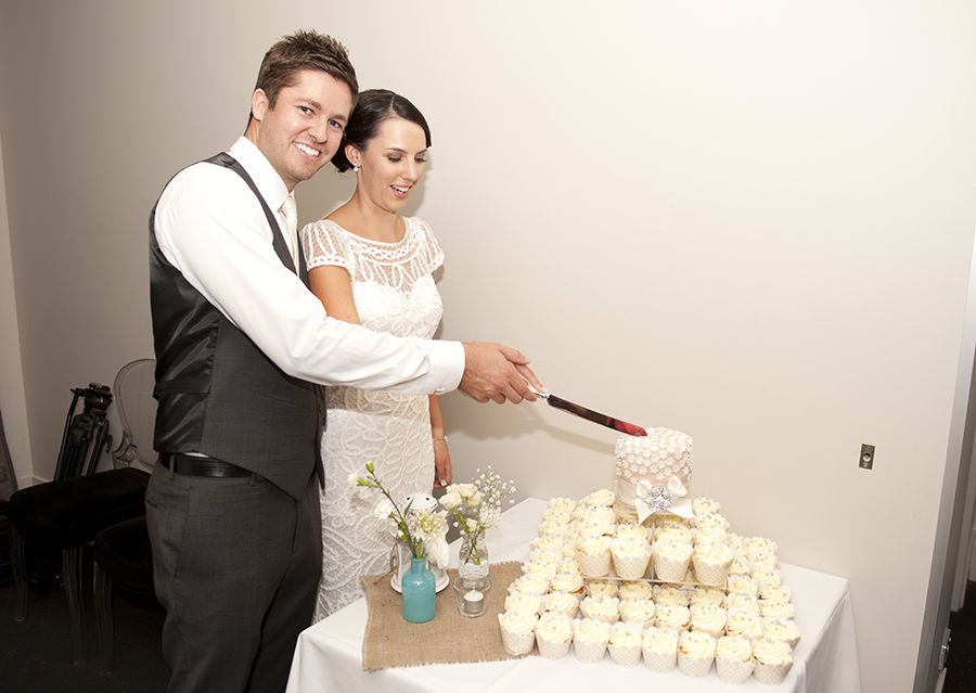 Wedding cake cutting at Stirling Winery