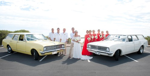 With the wedding cars