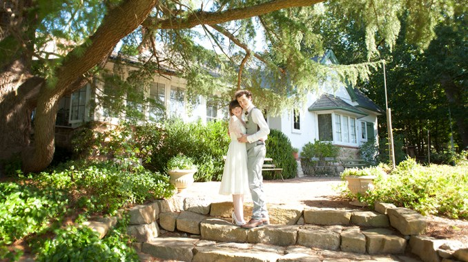 Bride and Groom in front of Hans Heysen House